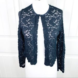 Dress Barn Collection Black Lace Cardigan Topper S